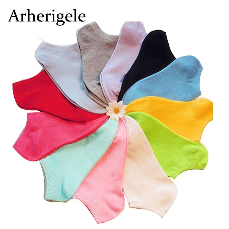 Arherigele 10pair Women's Socks Short Female Lady Cotton Socks Candy Color Girl Ankle Sock Low Cut Boat Art Socks Hosiery Summer