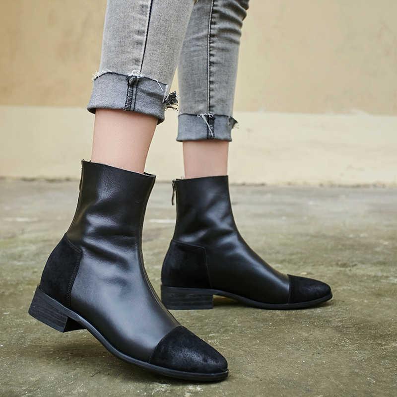 Mode Vrouwen lage Hakken schoenen Zwart grijs Rits Herfst Winter Warm Enkellaarsjes Vrouwelijke Kantoor Pumps Night Club Schoenen