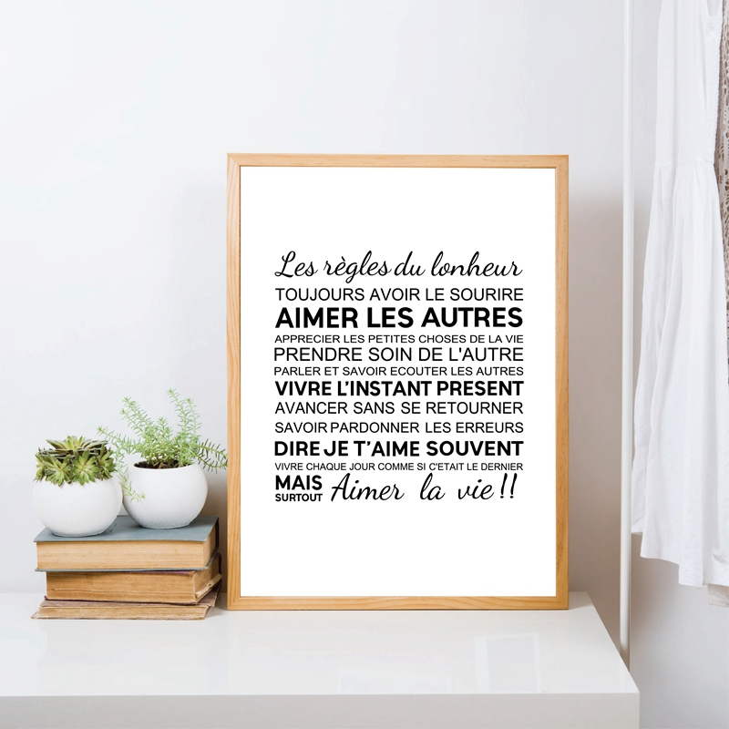 2 piece Nordic black and white wall print canvas paintings French character Minimalist The Rules of Happiness Quote poster decor