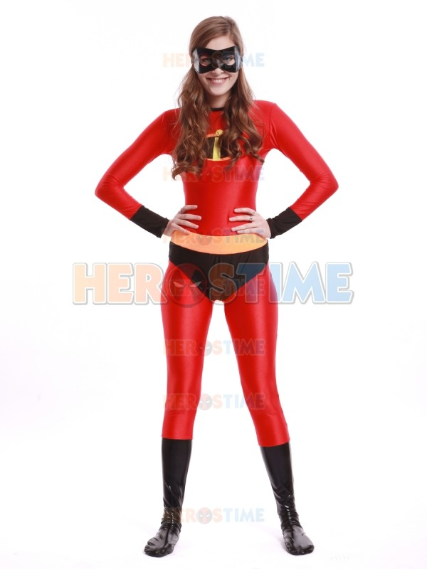 Incroyable fille Costume rouge spandex corps complet super-héros zentai costume halloween Costume