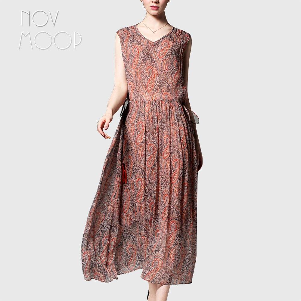 Summer women orange blue paisley print natural silk dress V Neck tie waist holiday beach A Line sundress vestidos jurken LT2280