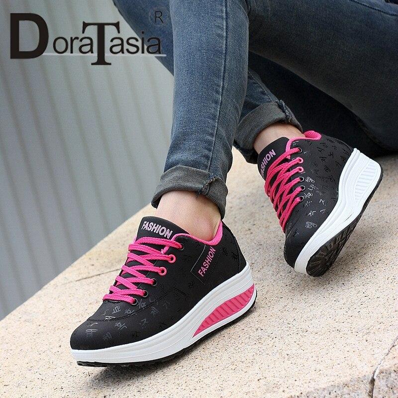 Doratasia Casual Nouveau 2019 Bout Up Doux Printemps Appartements forme Femme Solide Sneakers Lace 42 Noir Falt 35 Plate Automne bleu Chaussures Rond Taille khaki Grande qOqdwr5