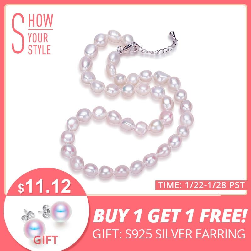 Daimi echte Barock Perlenkette, trendige Halskette für Frau, neue Bijouterie Fine Jewelry 9-10 mm Perle Choker Halskette
