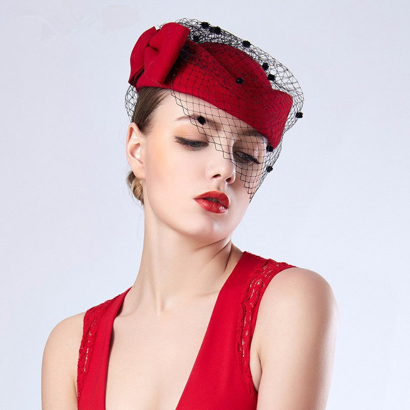 Hats Bowknot Red Women 4