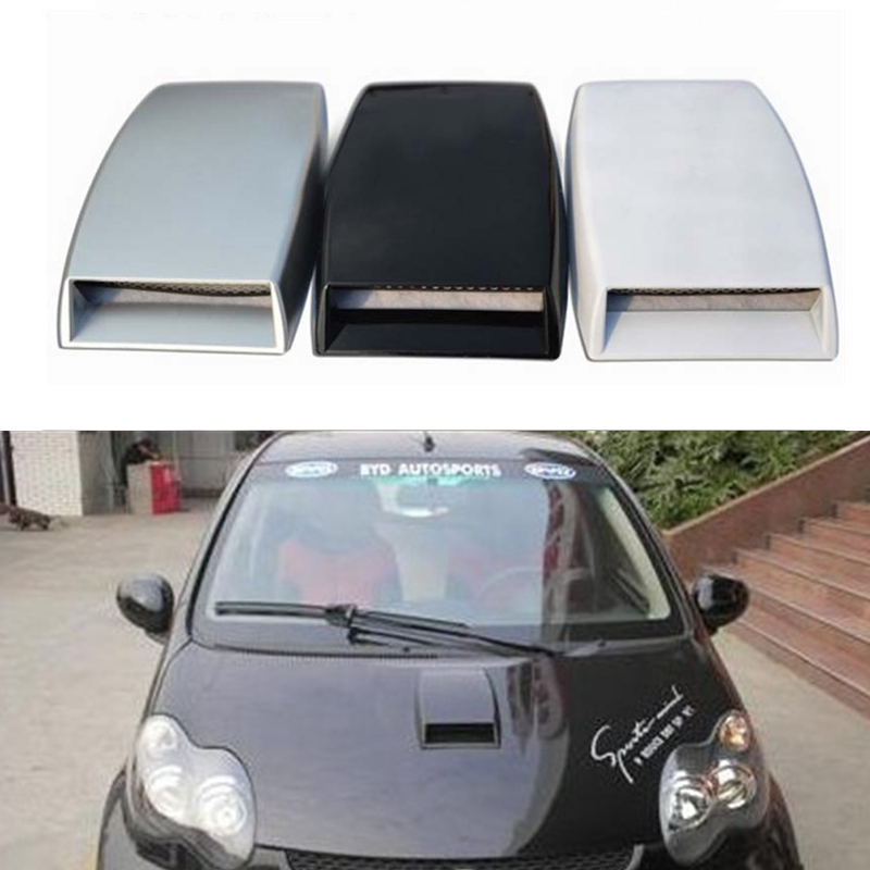 3 Color Car Styling Universal Decorative Air Flow Intake Scoop Turbo Bonnet Vent Cover Hood Silver/white/black Car Styling