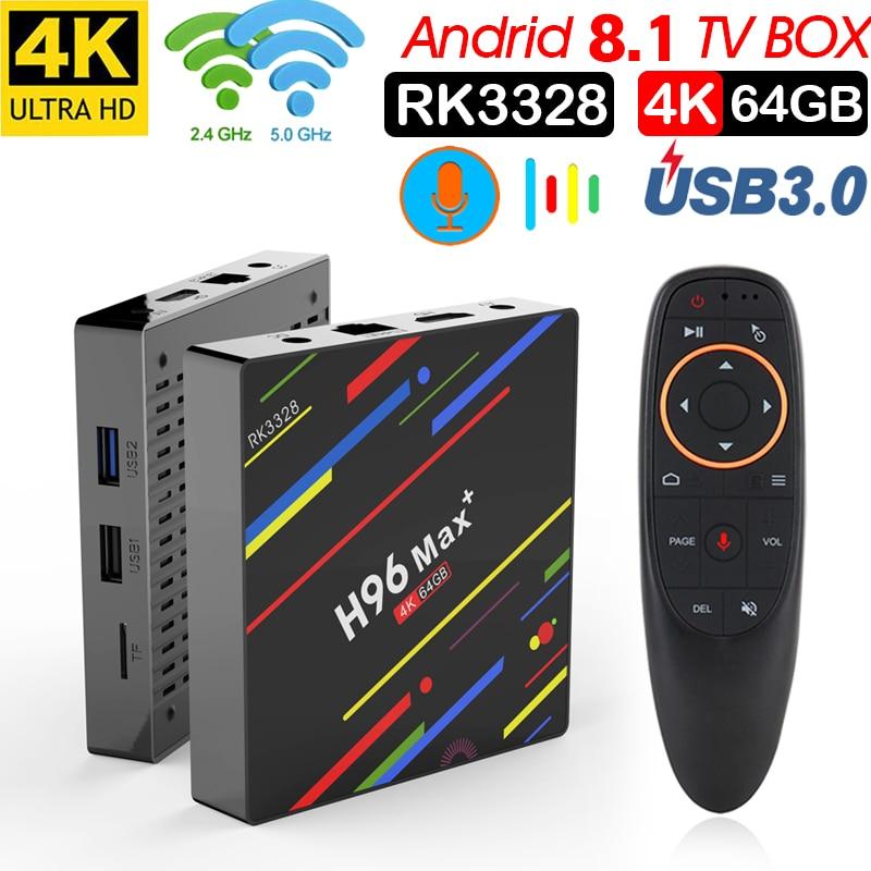 Xinways H96 MAX Plus Smart TV Box Android 8.1 Rockchip RK3328 4 gb 64 gb iptv smart box USB3.0 H.265 4 k GooglePlay décodeur