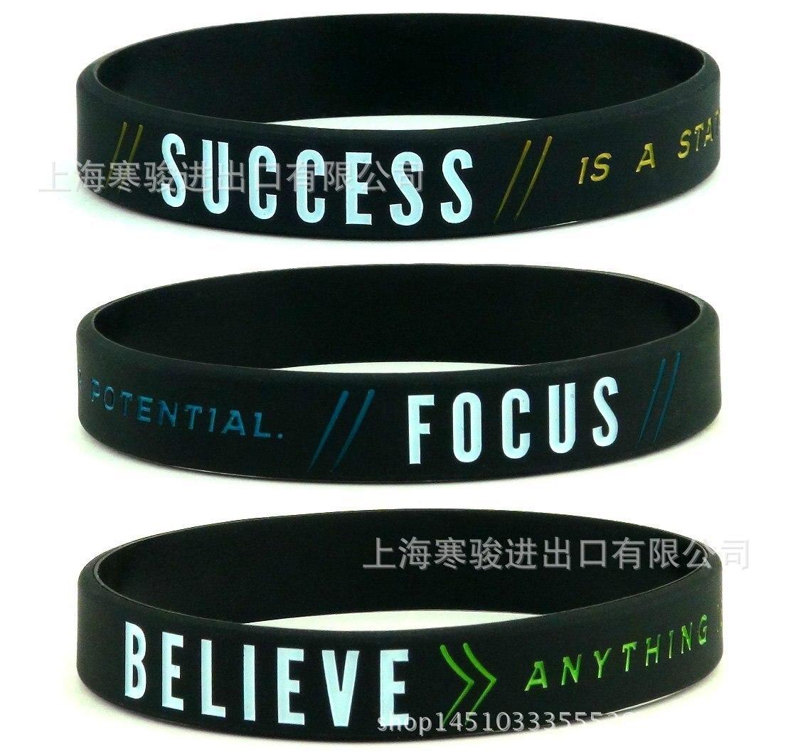 New Success Focus& Believe Motivational Silicone Sports Bracelets & Bangles Gift Fluorescent Rubber Fitness Wristband Bracelet