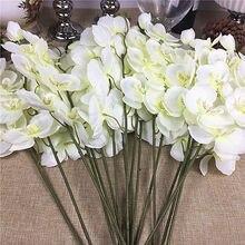 20 шт./лот оптовая продажа, белые орхидеи, ветки, искусственные цветы для свадебной вечеринки, украшения, орхидеи, дешевые цветы