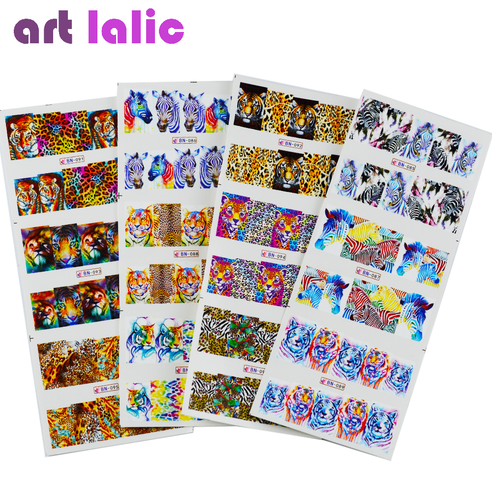 Artlalic 12pcs/lot 3D Tiger Zebra Animal Nail Stickers DIY Nail Art Decoration Water Transfer Tips Decal BN85-96 beauty girl 2017 wholesale excellent 48bottles 3d decal stickers nail art tip diy decoration stamping manicure nail gliter