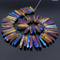 Approx58pcs/Strand Purple Blue Titanium Quartz Crystal Top Drilled Point Pendant Beads,Rock Raw Crystal Tusk Graduated Necklace