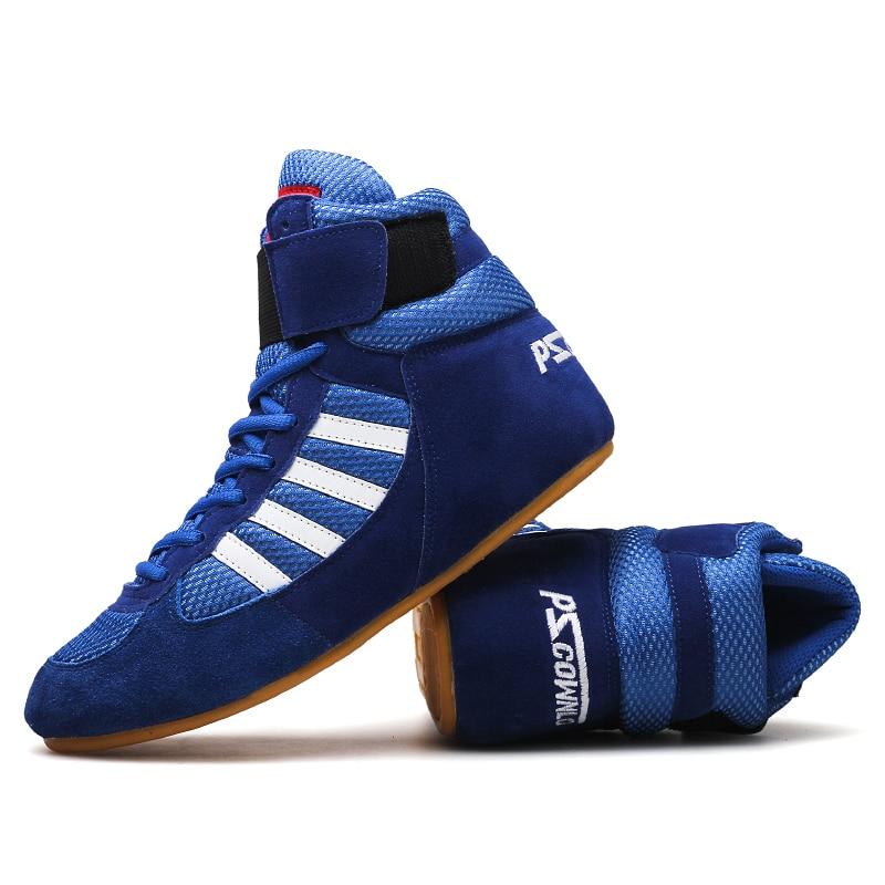 Hiteles VeriSign birkózócipők férfiak edzőcipőire ín a bőr cipők professzionális boksz cipő