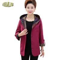 Large size 5XL Middle aged Women's Jacket Coat 2018 Autumn Thin Jacket Long sleeved Hooded Printed Jacket Female DAN290