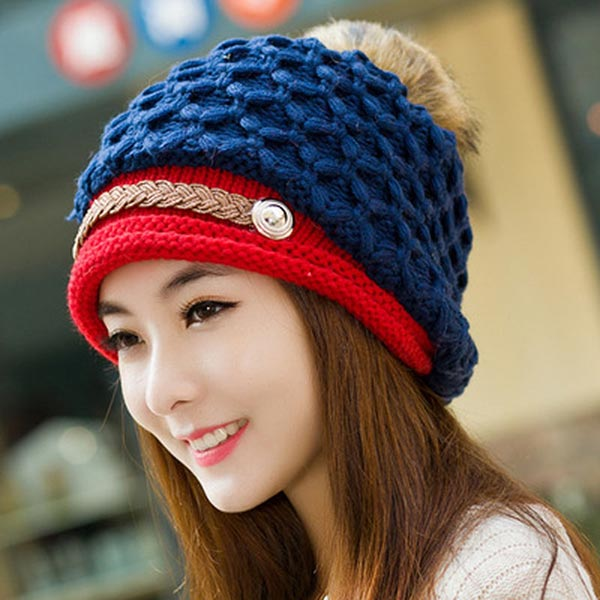 Skullies - Hot Sale Female Tide Leather Braids Knitted Cap Autumn And Winter Women's Curling Ear Warmers Headgear #1866784 [swgool] skullies