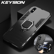 KEYSION Shockproof Armor Case For iPhone XR X Xs Max Stand Holder Car Ring Phone Cover for 6 6S 6PLUS 7 8 plus