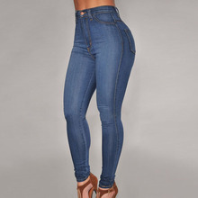 Women slim fit skinny high waist jeans fashion classical blue female perfect elastic denim pencil pants