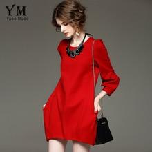 YuooMuoo Марка Дизайн Осень Платье Женщины Плюс Размер Высокое Качество Красный Черное Платье Элегантный Европейский Мода Бальные Платья И Пиджаки