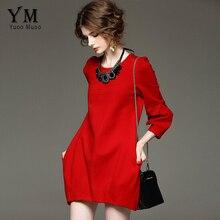 YuooMuoo Marka Tasarım Sonbahar Elbise Bayan Artı Boyutu Yüksek Kaliteli Kırmızı Siyah Elbise Zarif Avrupa Moda Parti Elbiseler Dış Giyim