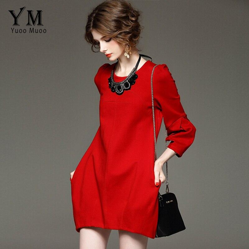 YuooMuoo Brand Design Otoño Vestido de Las Mujeres Más El Tamaño de Alta Calidad