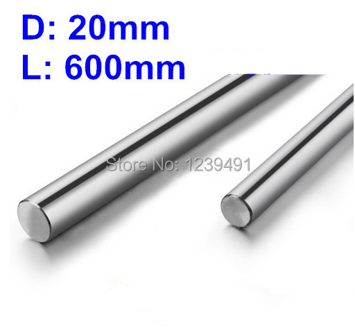 1pcs 20mm-L600mm Chrome Plated  Linear Round Shaft chrome plated wired control plate for jazz basstotal approx 152 54 mm l