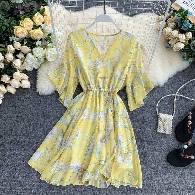 NiceMix Summer Dress 2019 Korean Fairy French Dress Cool Girl Print V neck Flare Sleeves Chiffon Plus Size Women Casual Dress in Dresses from Women 39 s Clothing