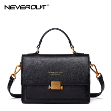 NeverOut Mujeres Bolsas de Hombro de Cuero Genuino de Alta Calidad Cruz Body Bag Retro Hardware Messenger Bag Sac Real Brand Design