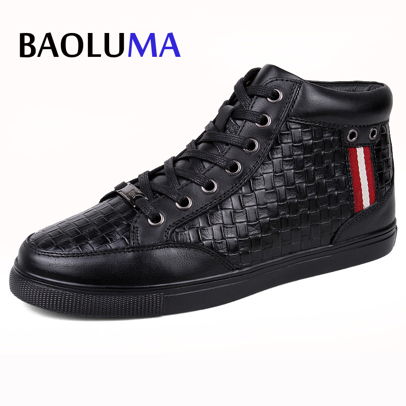 Baoluma Big Size 36-48 Men Real Leather Black Casual Shoes Italy Leather Shoes For Men Summer Autumn Loafers Men Flat Shoes casual waterproof boot silicone shoes cover w reflective tape for men black eur size 44 pair