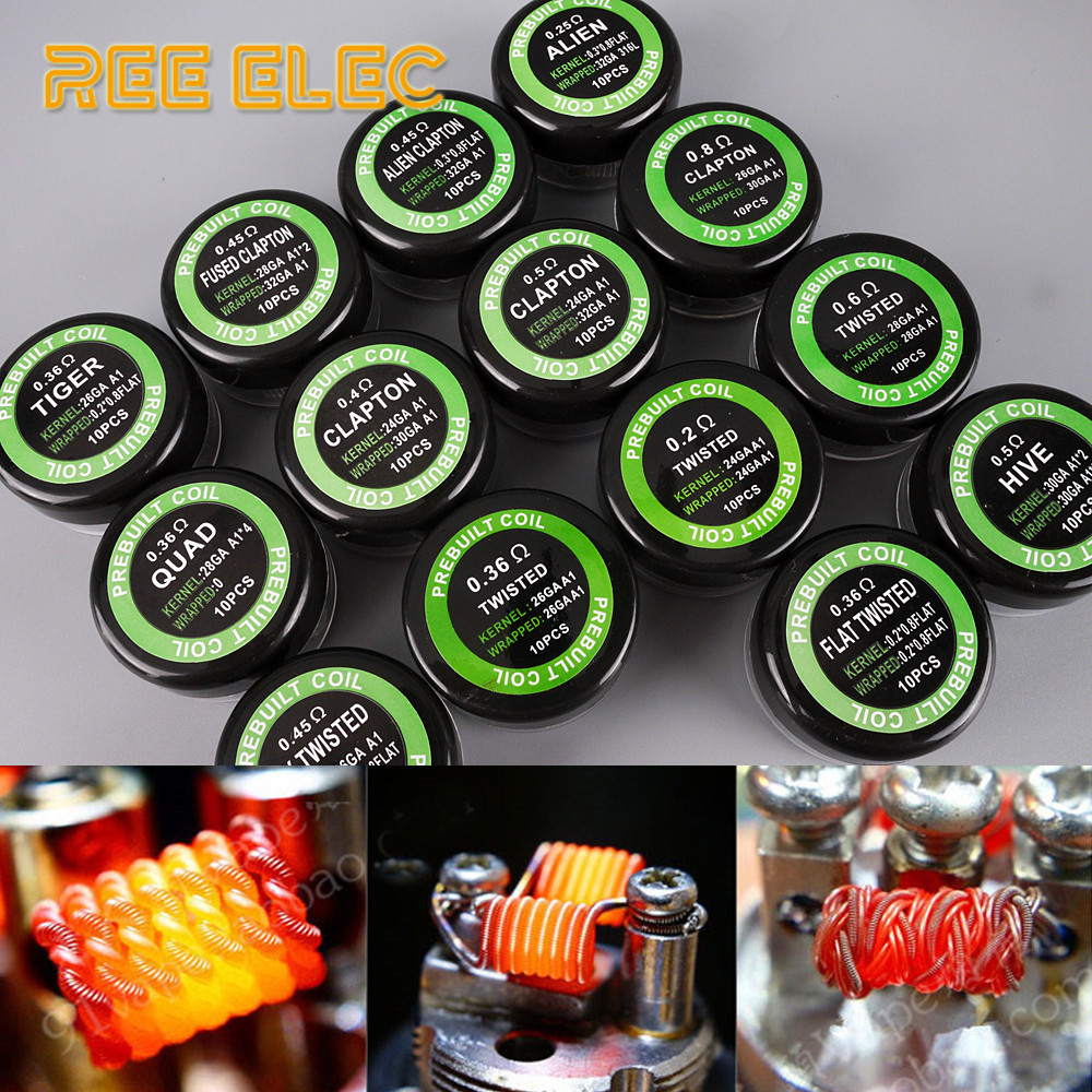 10Pcs/Box A1 Alien Clapton Flat Tiger Fused Mix Twisted HIVE QUAD Prebuilt Coils For RDA Atomizer Vape Pen DIY Accessory Coil