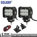 Oslamp 2x18 W Chips de LED CREE Trabalho Light Flood Offroad Led Condução de Luz Da Lâmpada + A-pilar Suportes de montagem Para Jeep Wrangler JK 07-15