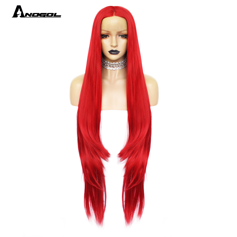 Anogol 42 inch Long Natural Wave Red Synthetic Lace Front Wigs Free Part High Temperature Fiber