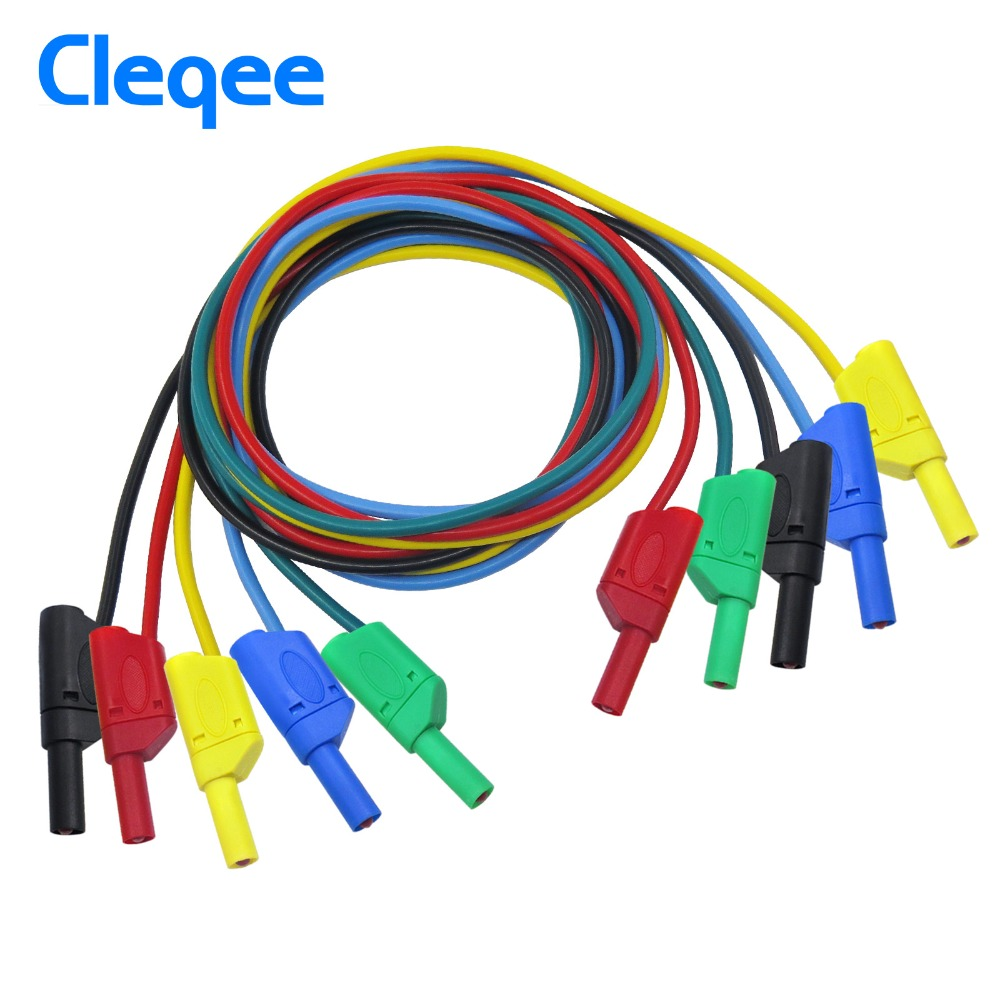 Cleqee P1050 1M 4mm Banana to Banana Plug Soft RV Test Cable Lead for Multimeter 5 Colours 1pcs yt191 high voltage 4 mm banana plug test lead cable wire 100 cm for multimeter the probes gun type banana plugs