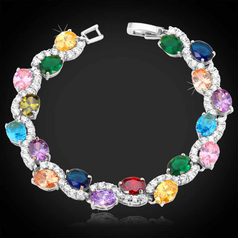 Tennis Bracelets For Women AAA+ Cubic Zirconia Jewelry Nice Gift Yellow Gold Color Multicolor Crystal Bracelet H399