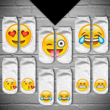 Women's Cute Emoji 3D Digital Print White Cotton Breathable Stretchy Ankle Socks Store111