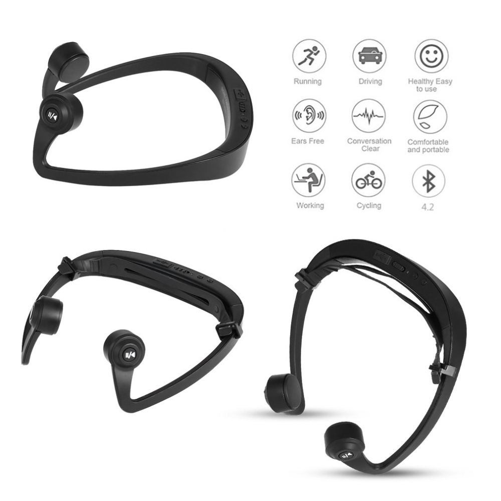 bluetooth headset v9 ear hook bone conduction sport headphone with mic adjustable headband for. Black Bedroom Furniture Sets. Home Design Ideas