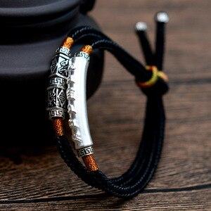 Image 4 - 2019 ręcznie pleciona bransoletka dla mężczyzn 925 Sterling Silver om mani padme hum grawerowane Bend urok podwójna warstwa szczęście Rope Chain