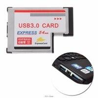 2 porta dupla usb 3.0 hub express card 54mm adaptador escondido com driver de cartão expresso cd para portátil|Cartões para acréscimos| |  -