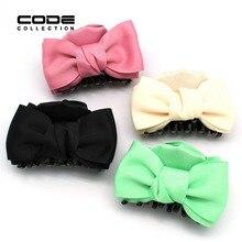 Moda Ribbon Bow Hairclaw Acrílico Colorido Mulheres Elegantes Bonito Menina Grampo de Cabelo Da Noiva Acessórios Do Cabelo Do Casamento