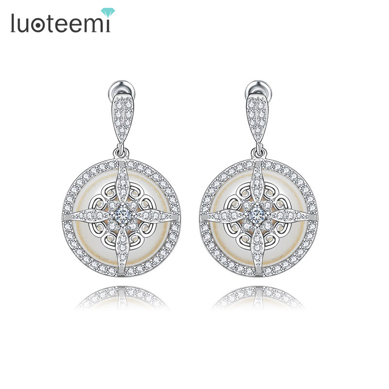 LUOTEEMI New Noble Special Design Imitation Pearl Drop Earrings Fashion Delicate Dangle Brincos Jewelry For Women Wedding Gift