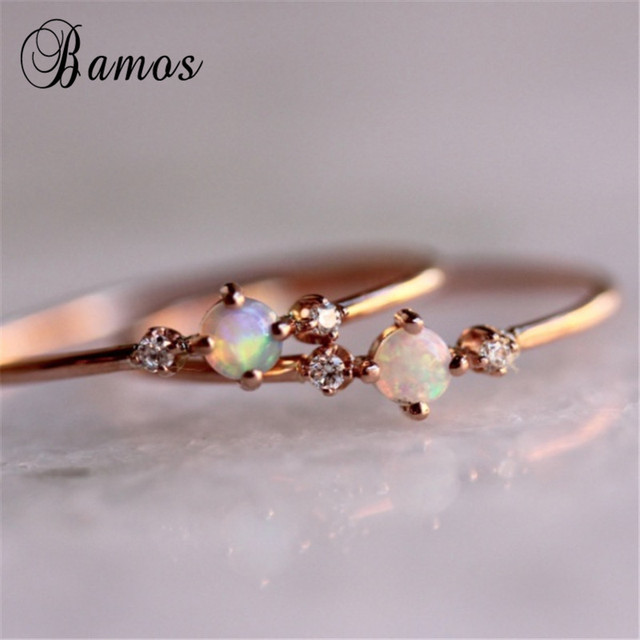 Bamos Dainty White Fire Opal Thin Ring Simple Zircon Ring Rose Gold