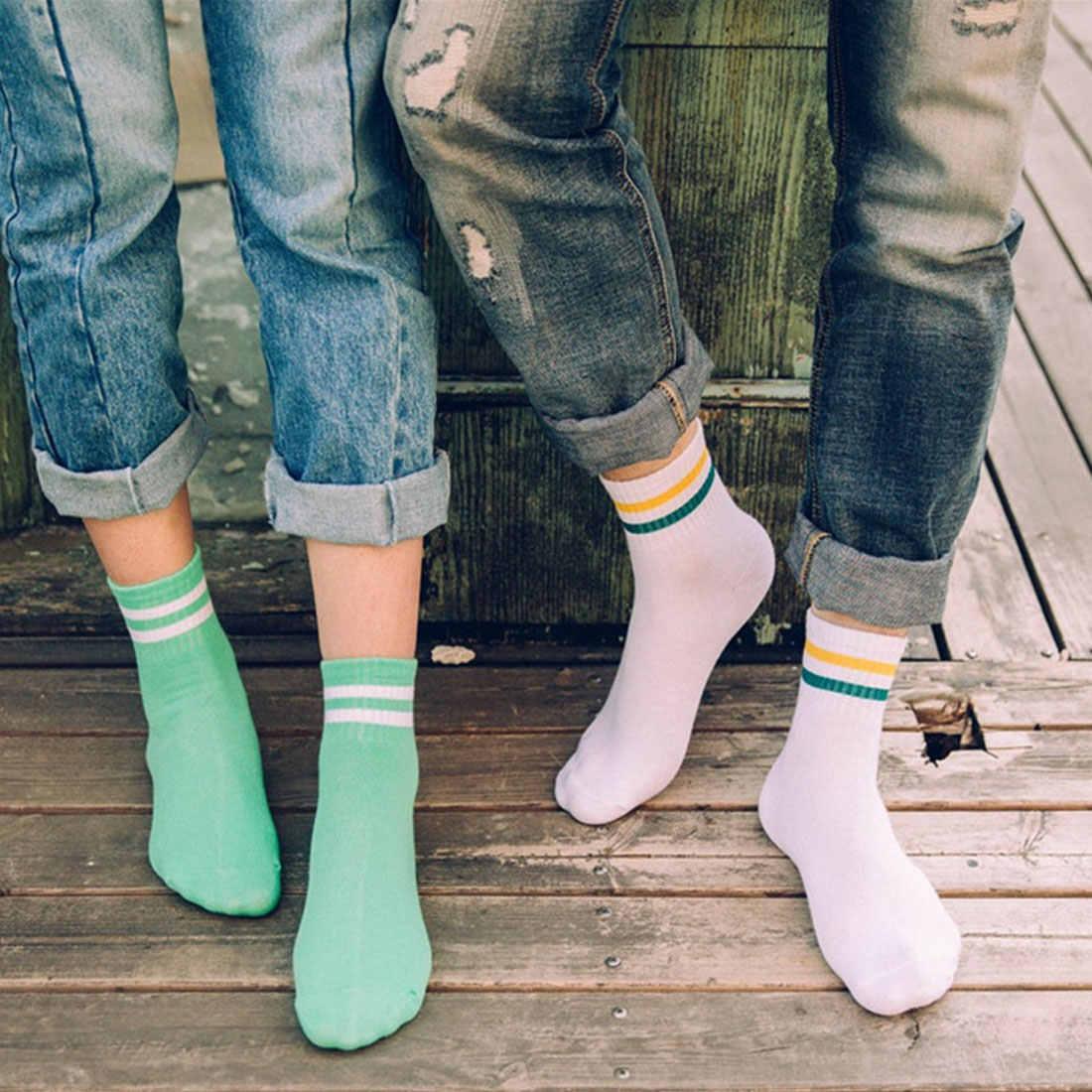 Classic Women Girls Two Stripes Cotton Socks Retro Old School Student  Hiphop Skate White Harajuku Korean Hosiery Meias