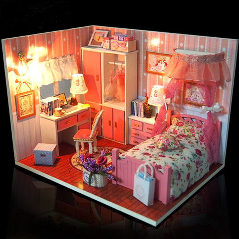 Wooden Dollhouse Furniture Lights Kits Miniature Pink Girl