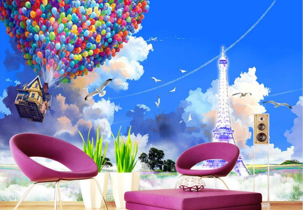 Home improvement Custom 3D Photo Wallpaper Balloon house tower Living Room TV Bedroom Wall papers Home Decor Home Improvement
