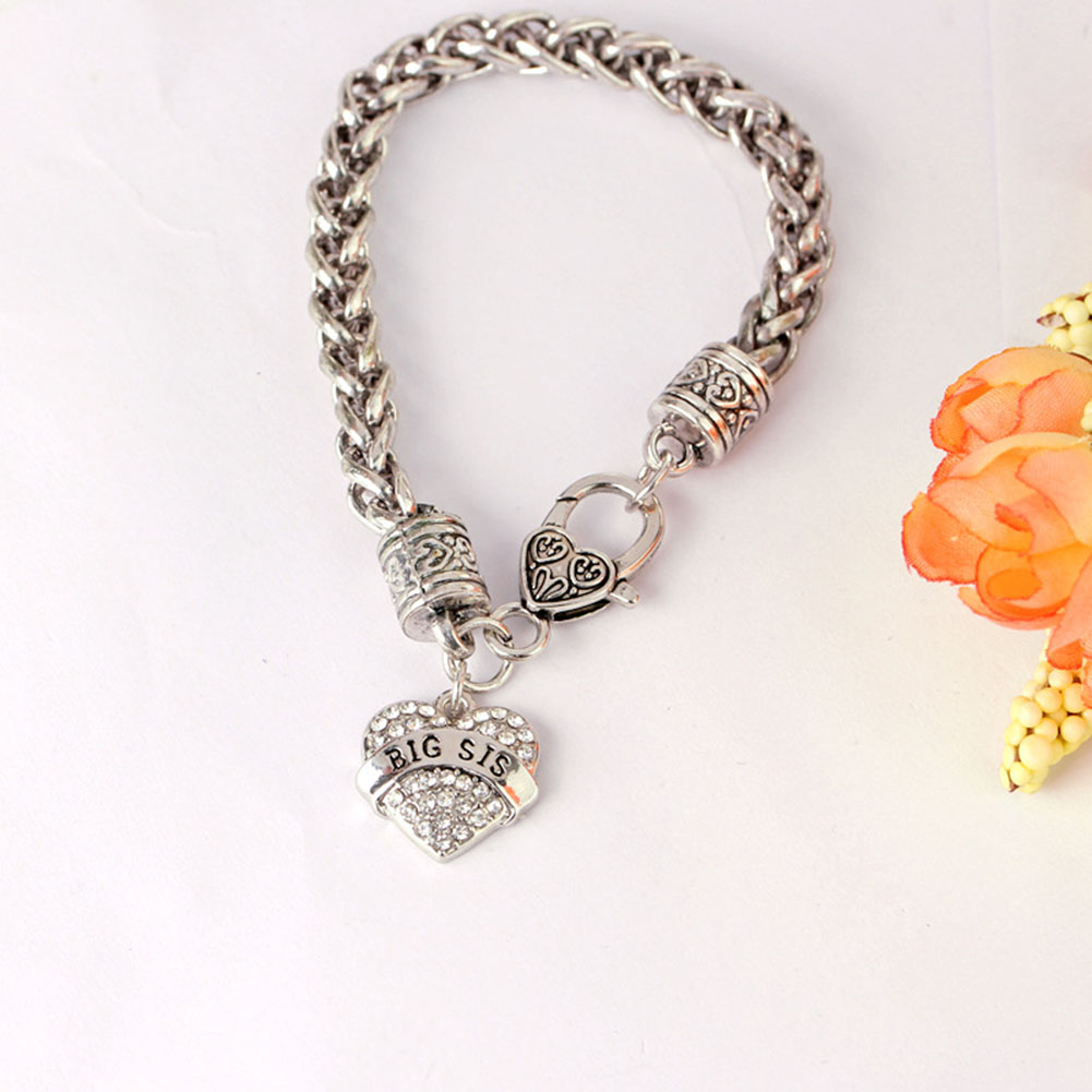 Heart Pendant Emblem Necklace Sister Gift Jewelry For Girls New Design A Set Big Sis Mid ...