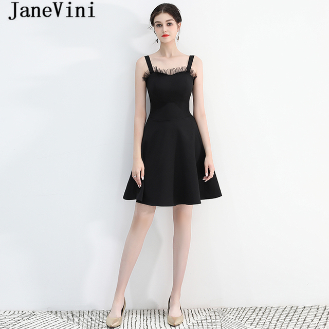6fbc60198 JaneVini Simple Black Satin Short Bridesmaid Dresses for Wedding Party  Spaghetti Straps Backless Knee Length A Line Prom Gowns