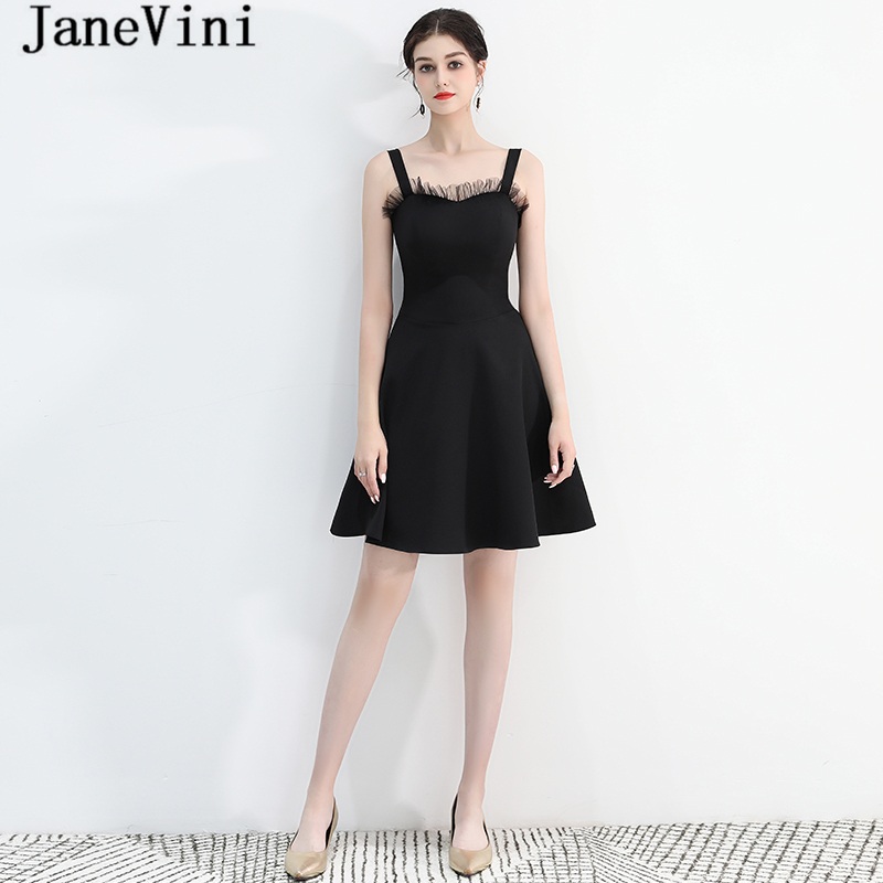 JaneVini Simple Black Satin Short   Bridesmaid     Dresses   for Wedding Party Spaghetti Straps Backless Knee Length A Line Prom Gowns
