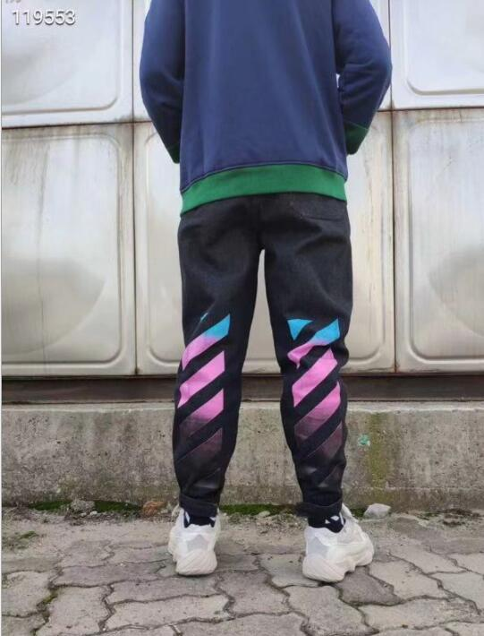 off-white streetwear famous brand Gradient color square printing men's trousers casual large size   jeans   men   jeans   pants