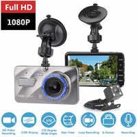 """Cámara Dash Cam doble lente coche DVR Full HD 1080P 4 """"IPS frontal + visión nocturna trasera Video monitor de estacionamiento automático"""