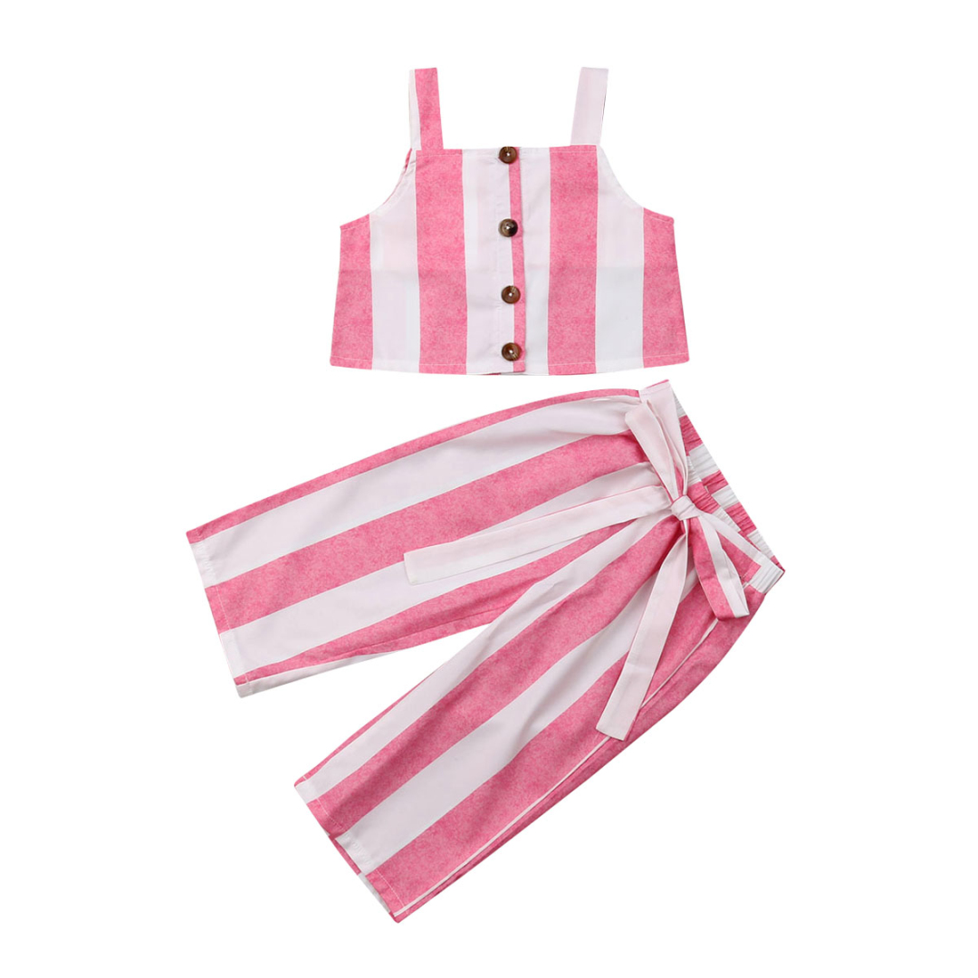 Fashion Toddler Kids Baby Girls Striped Crop Tops +Pants 2Pcs Summer Outfits ClothesFashion Toddler Kids Baby Girls Striped Crop Tops +Pants 2Pcs Summer Outfits Clothes