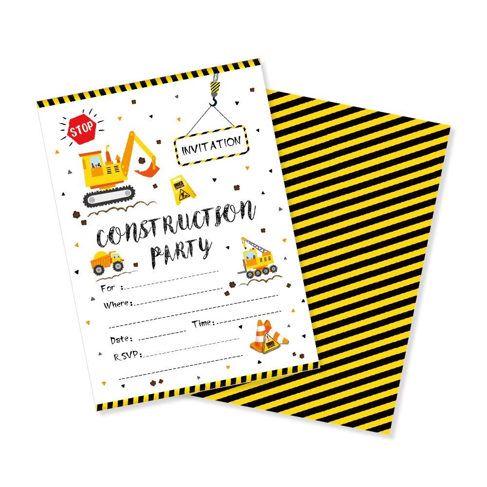 Construction Theme Birthday Cards Invitations Cartoon Car Excavator Invitation Birthday Party Favor Kid's Party Decorations