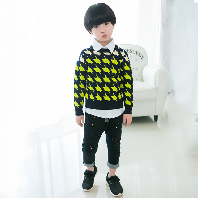Casual O-neck children coat baby boys sweater 100% cotton 2018 new autumn kids fashion clothes male child thickened clothing Outwear & Coats