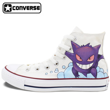 Converse All Star Boys Girls Shoes Pokemon Gengar Design Hand Painted High Top Sneakers Men Women Unique Skateboarding Shoes